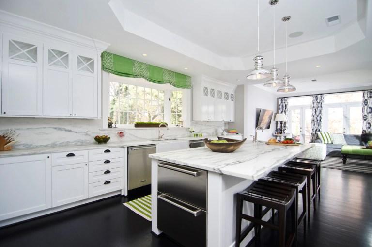 open flow bright kitchen center island tray ceiling marble backsplash