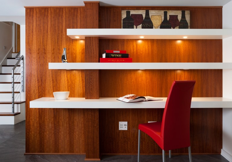 built in desk with under shelving lighting contrast natural wood feature wall with white shelving