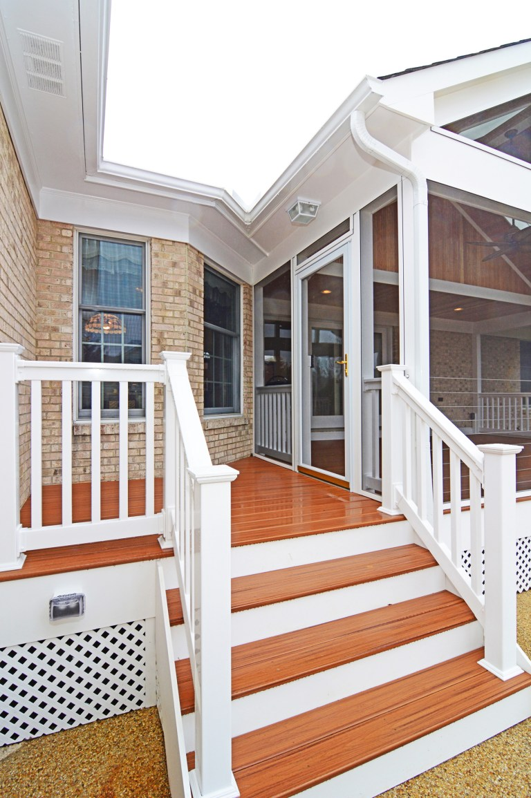 back porch addition stairs leading to yard