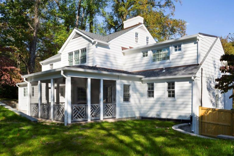 addition on back of Maryland home including screened-in porch