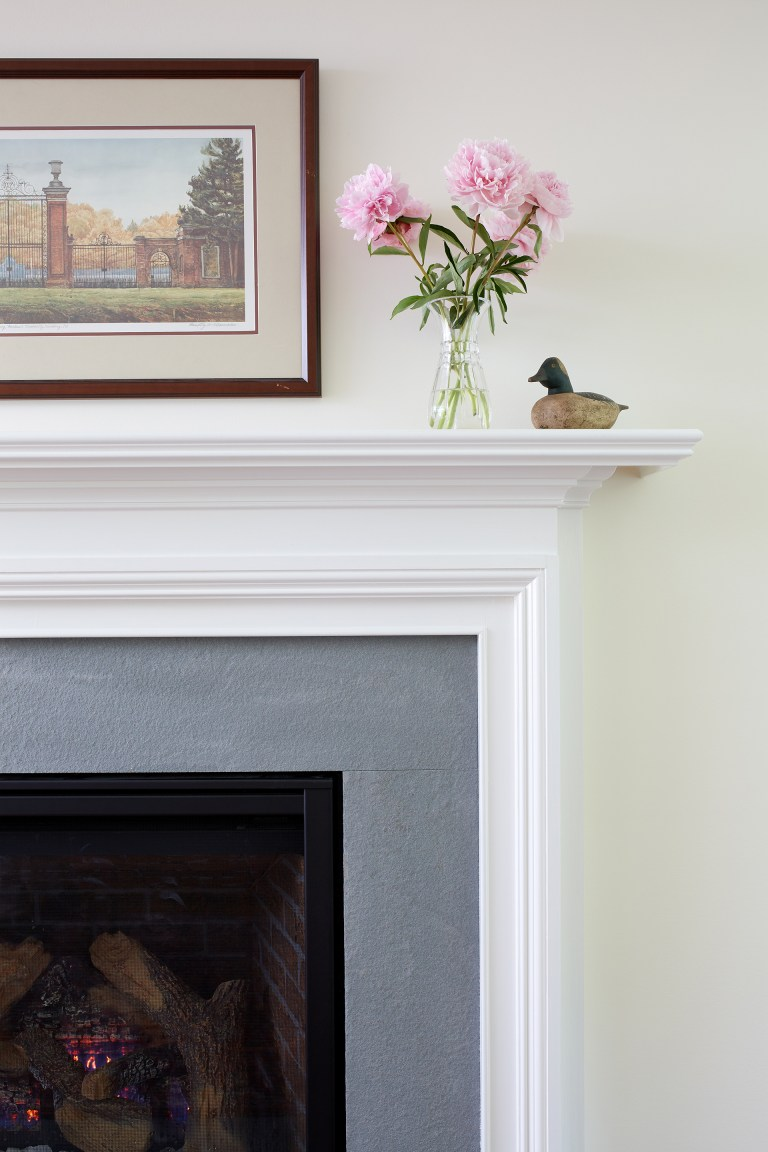 fireplace detail white mantle gray surround