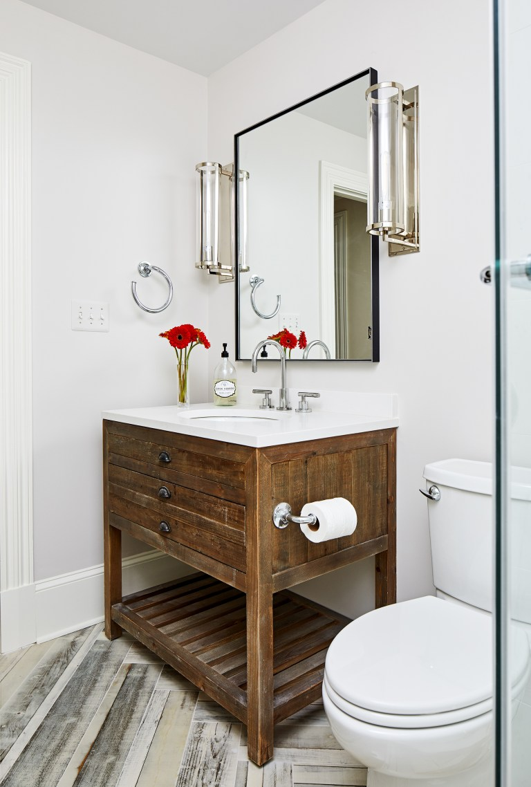 case remodeling bathroom with a farmhouse style rustic brown bathroom vanity