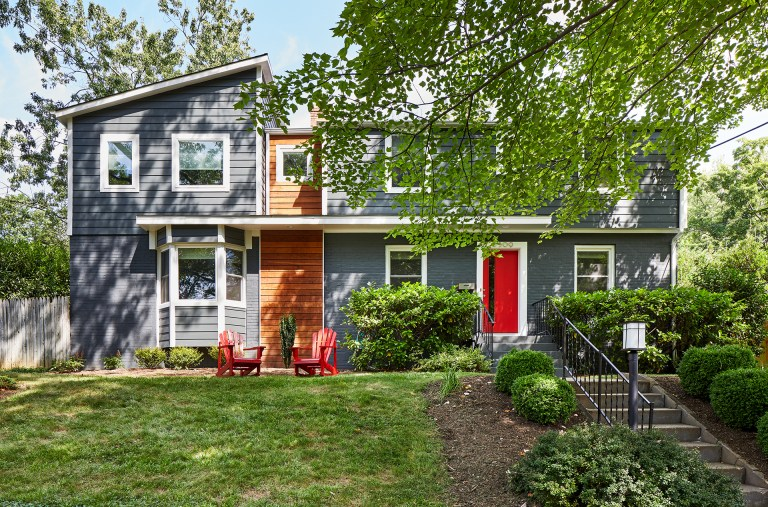 second story addition on maryland home and eclectic modern makeover