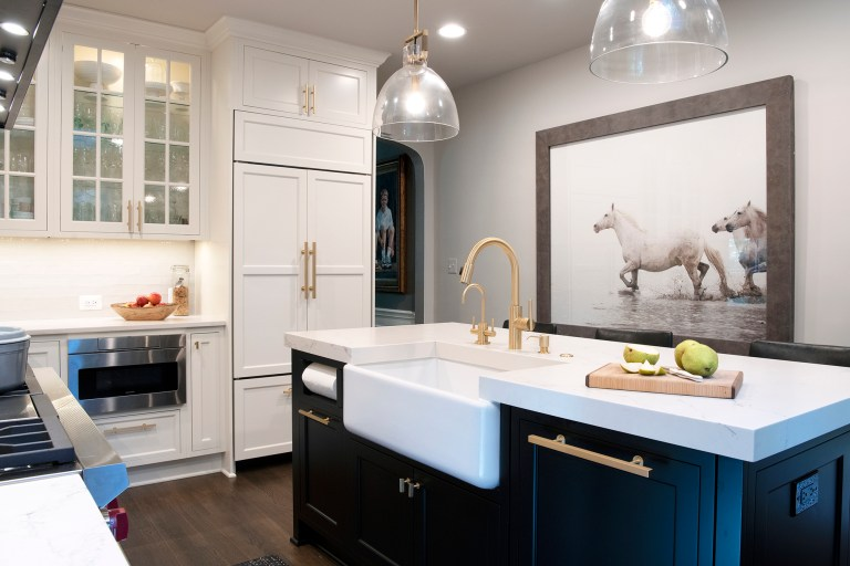 maryland home remodeler black and white kitchen