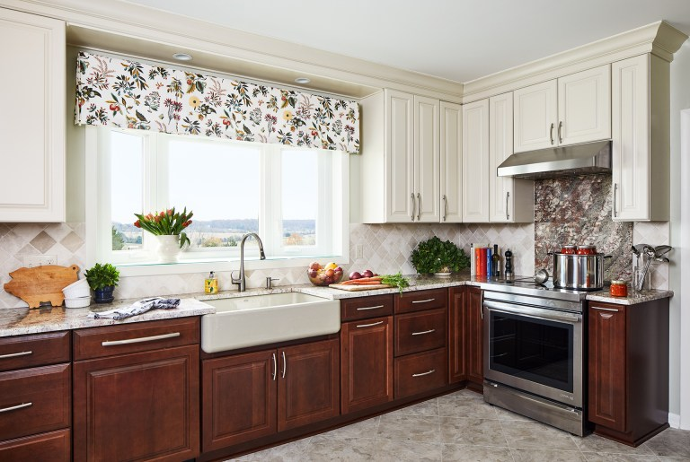 case kitchen design with white and brown cabinets