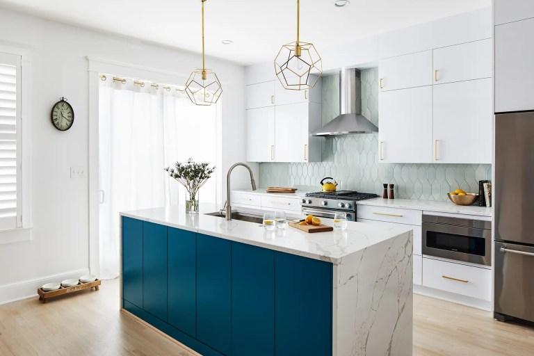 blue and white kitchen remodel washington dc
