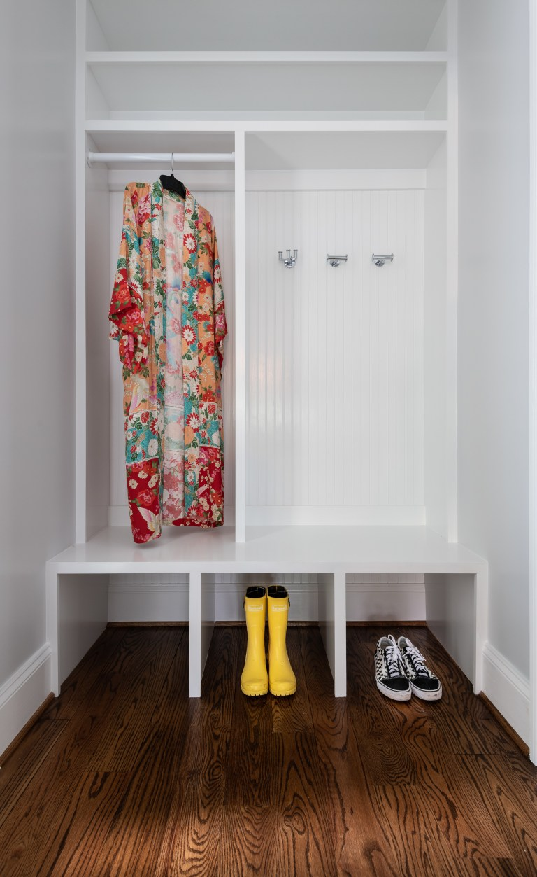 set of two storage with hooks and cabinets to keep bags, shoes and jackets organized and easy to reach