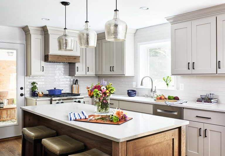 maryland kitchen with spacing pendant hanging lamps lights over a kitchen island