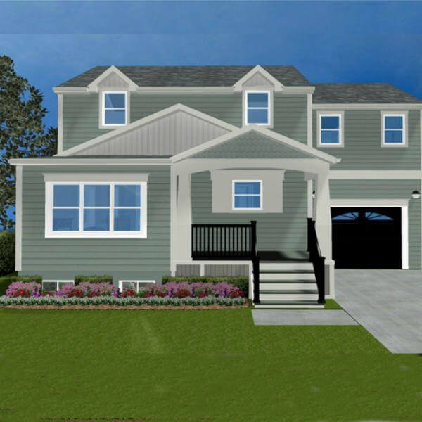 new addition rendering front entry, cape cod porch garage and second story master suite