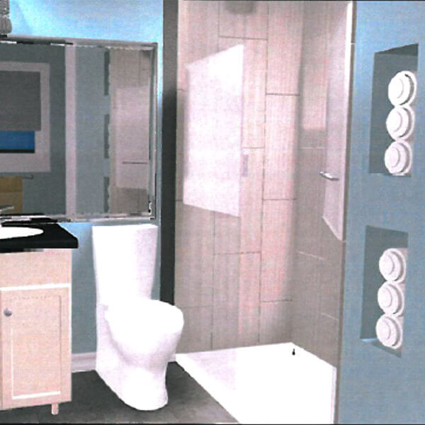 Rendering of new wall for 2 new bathrooms and closet