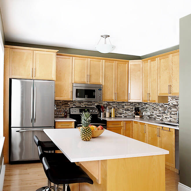 kitchen tile, counter top, and cabinet update Halifax Case Design