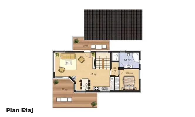 Proiecte de case cu etaj si veranda la oras