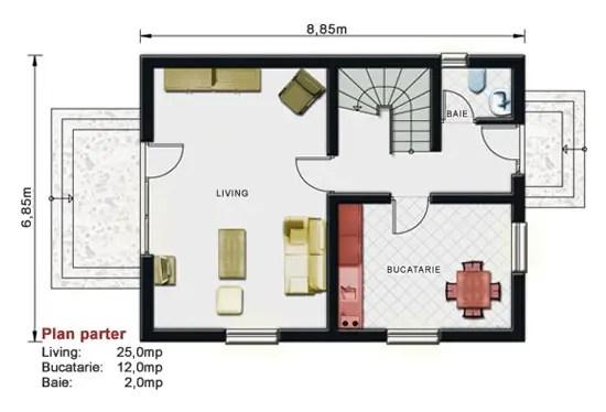 Proiecte de case pe terenuri mici for Proiect casa 2 camere living baie si bucatarie