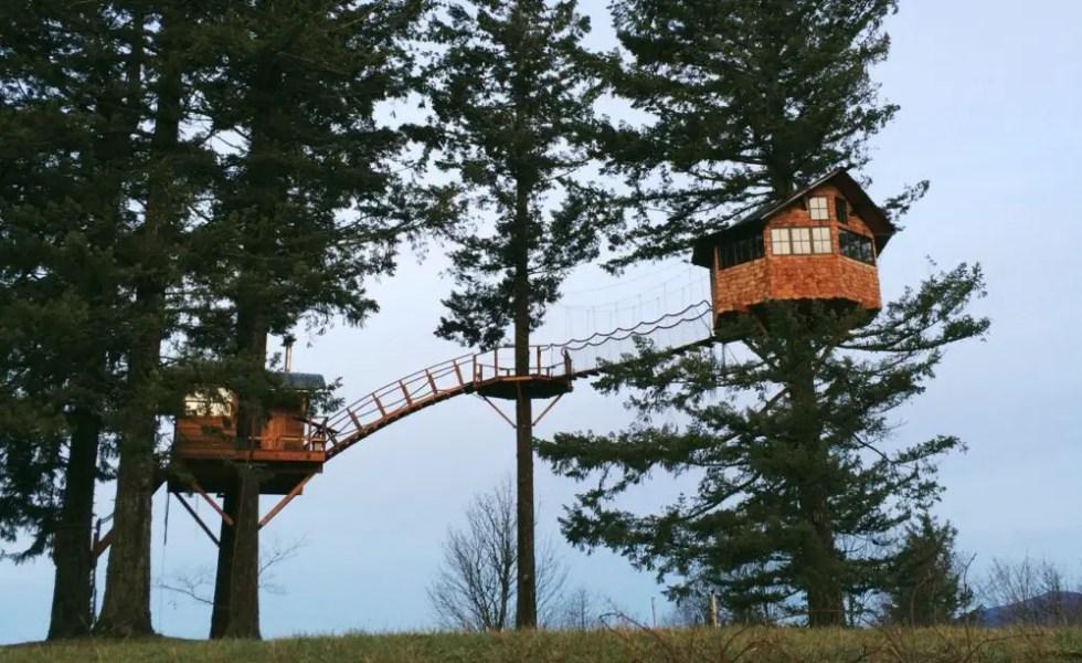 Casa din copac la munte