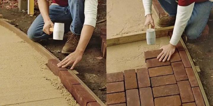 Construirea unei alei din caramida in gradina
