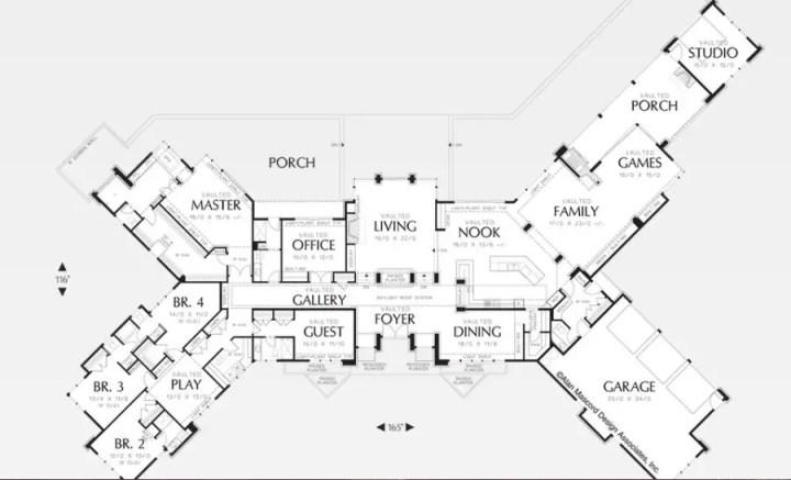 Proiecte de case in forma de X X shaped house plans 3