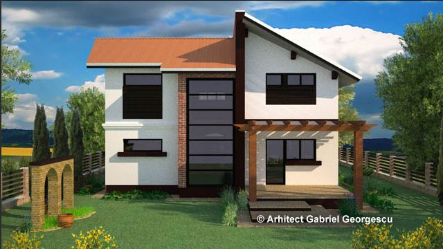 Proiecte de case cu etaj si terasa acoperita - Two story house plans with covered patios ...