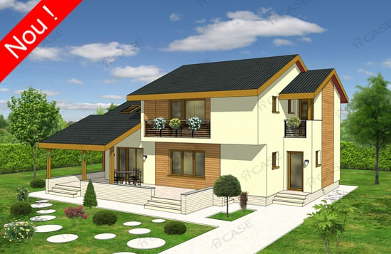 proiecte de case cu etaj si terasa acoperita