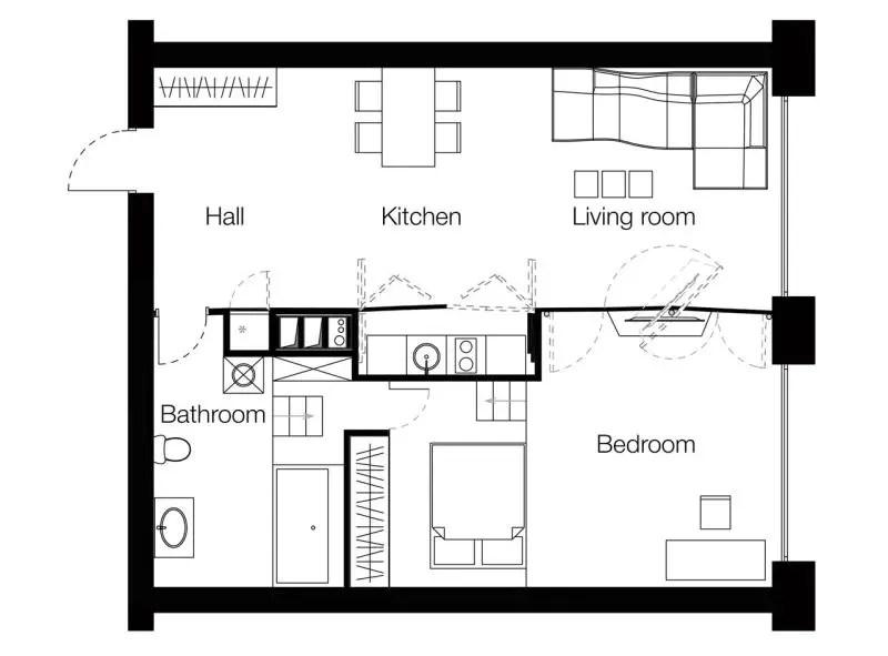 transformarea unei garsoniere in apartament transforming a studio apartment 8
