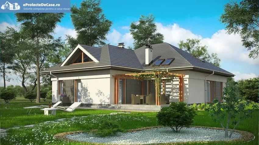 proiecte case medii cu mansarda si garaj spatii