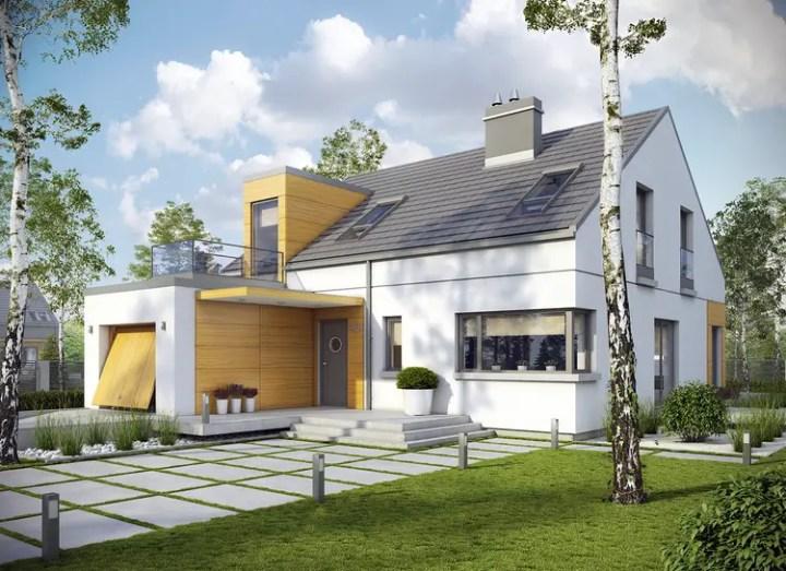 Proiecte de case moderne cu terasa deasupra garajului de la parter