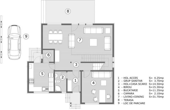 proiecte de casa cu scara interioara Interior staircase house plans 11