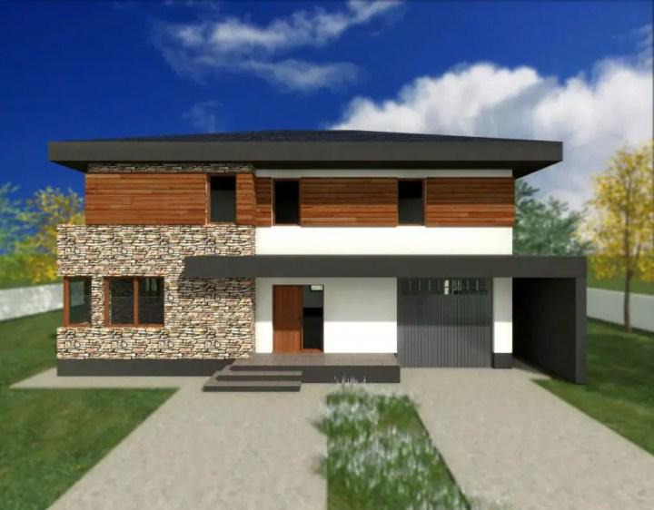 Proiecte de case din piatra si lemn frumoase