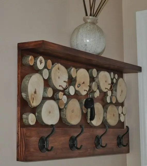 cuiere rustice din lemn Rustic wood coat racks 5