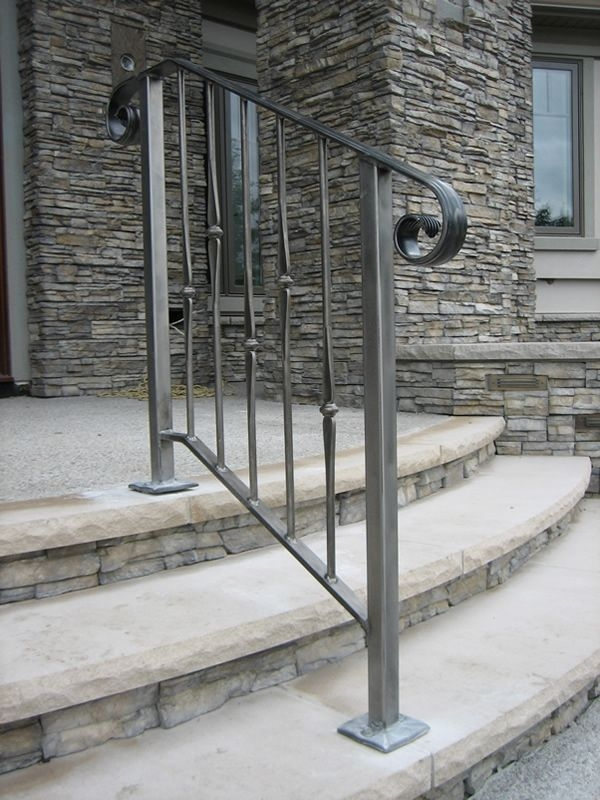Exterior Wrought Iron Stair Railings Personalized Shapes   Wrought Iron Outdoor Handrails   Curved   Design Boundary   Color   Cottage Style   Drawing