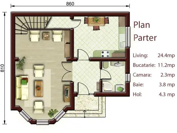 proiecte de case mici cu doua dormitoare Two bedroom small house plans 4