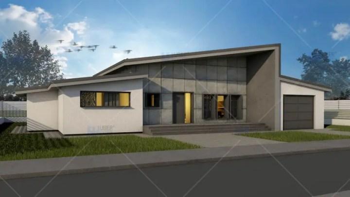 Proiecte de case moderne pe un singur nivel spatii for Case parter 3 camere