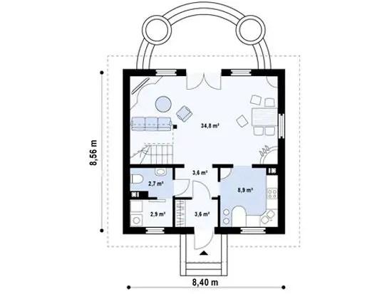 proiecte de case cu mansarda cu patru camere Four room attic house plans 3