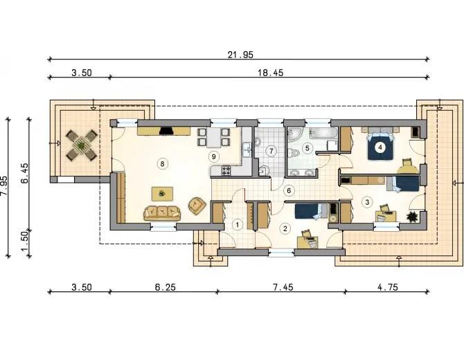 proiecte de case mici cu terasa acoperita Covered patio small house plans 10