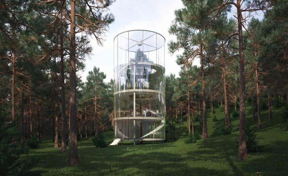 Casa din tubul de sticla transparenta