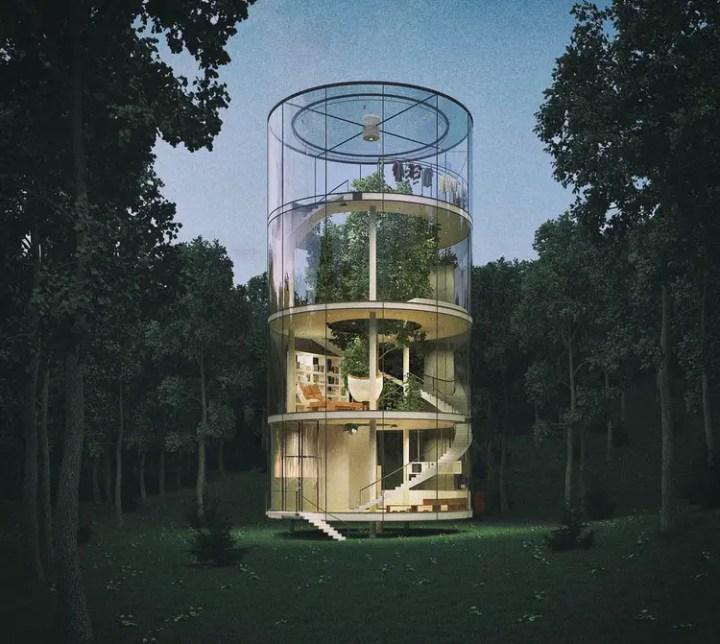 Casa din tubul de sticla - privelisti impresionante peste coroana copacilor