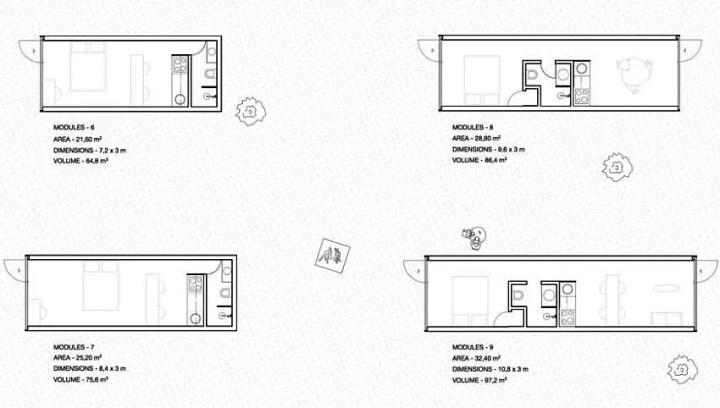 Casa modulara plutitoare - optiunile de structurare a spatiului