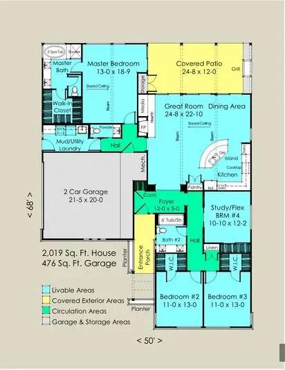 case fara etaj cu patru dormitoare Single story 4 bedroom house plans 3