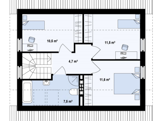 proiecte de case cu mansarda sub 100 de metri patrati Attic houses under 100 square meters 4
