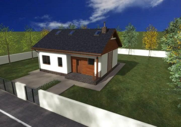 Proiecte de case de 70 de metri patrati - fatada cu dichisuri