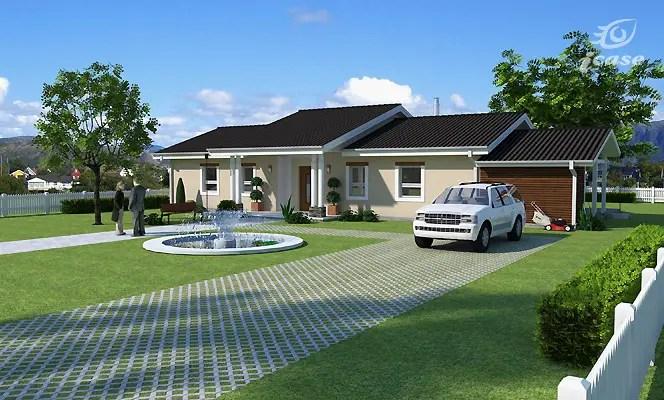 Case cu parter si 3 dormitoare - stilul ranch, cu spatii exterioare generoase