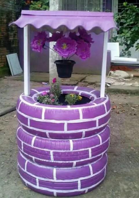 gradini amenajate cu cauciucuri old tire outdoor ornaments 1