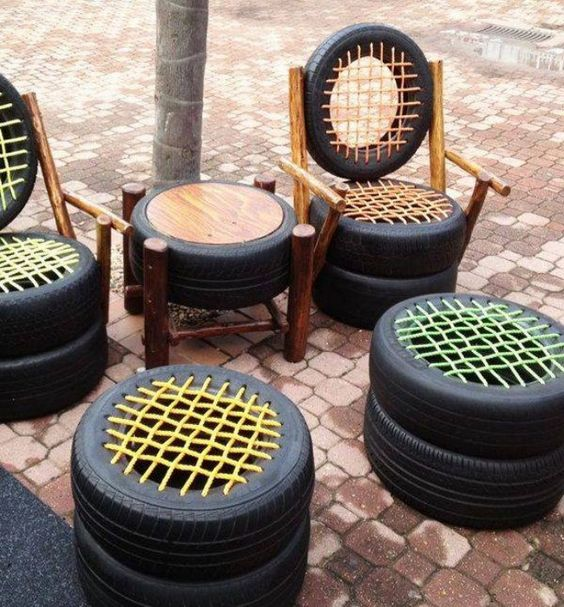 gradini amenajate cu cauciucuri old tire outdoor ornaments 3