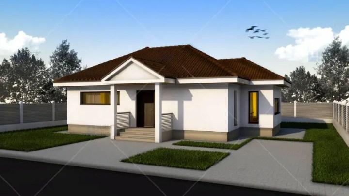 Proiecte de case mici pe un singur nivel - vitraje orizontale si verticale