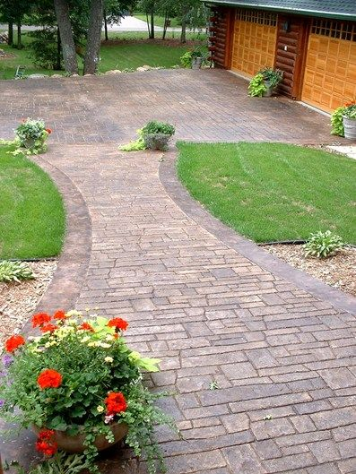 alei din beton amprentat stamped concrete walkway ideas 5