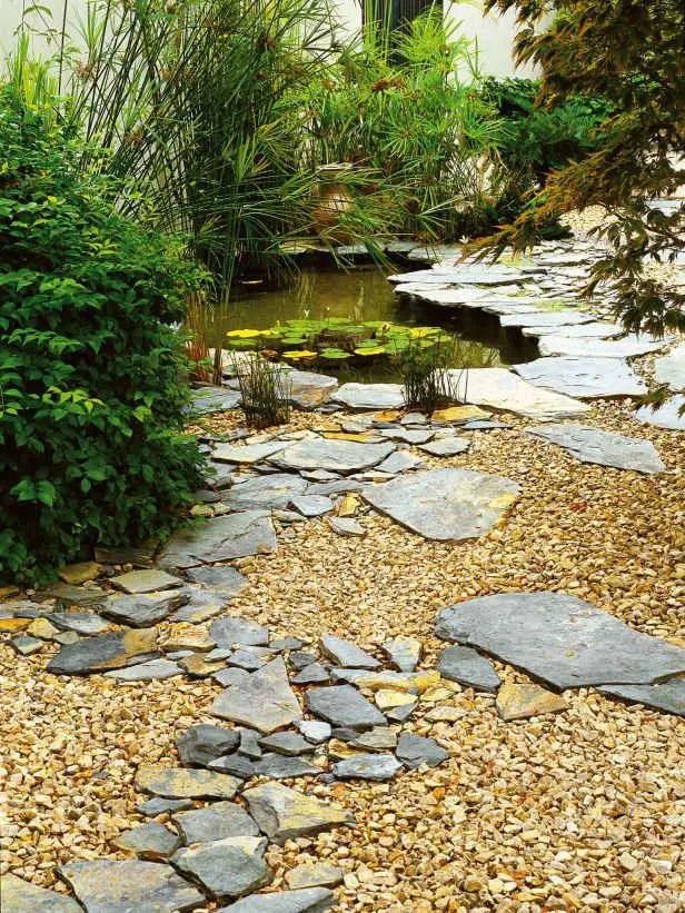 amenajarea gradinii cu pietris Pebble garden decoration ideas 19