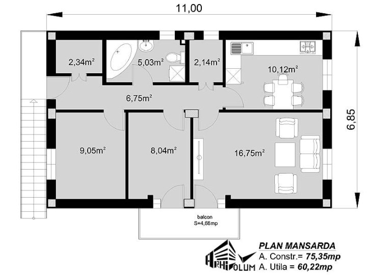 case cu mansarda si scara exterioara Attic houses with exterior stairs 6