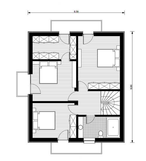 case medii cu mansarda Two story medium sized house plans 12