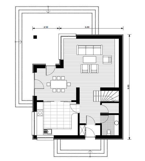 case medii cu mansarda Two story medium sized house plans 13