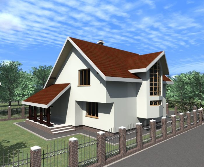 case medii cu mansarda Two story medium sized house plans 7
