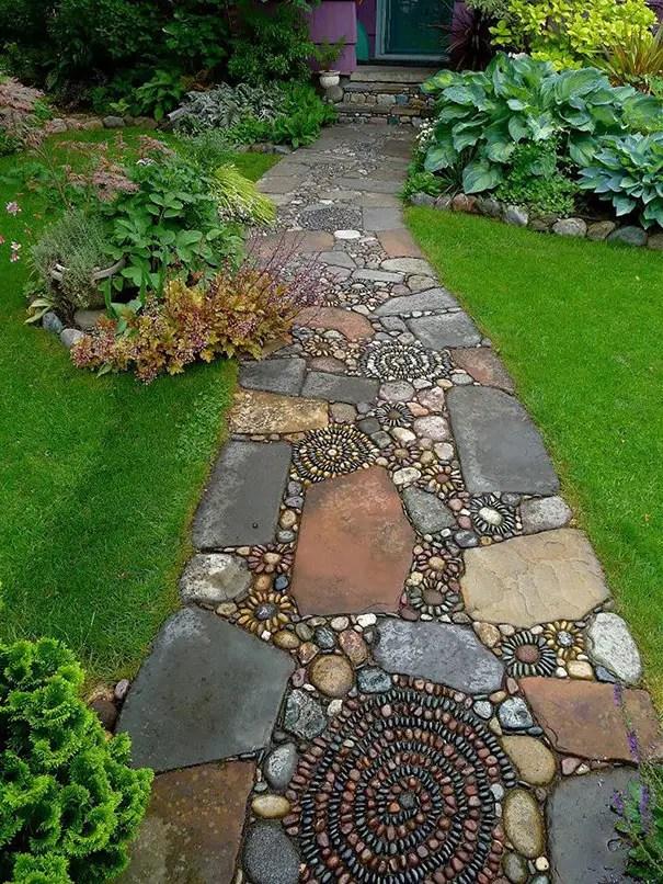 Modele de pavaj cu piatra de rau River stone paver ideas 5